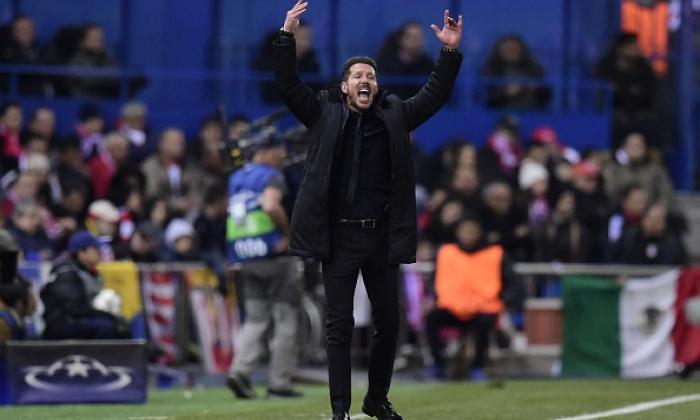 欧洲冠军联赛最后16:Atletico Madrid Manager Diego Simeone在Thellline上获得动画